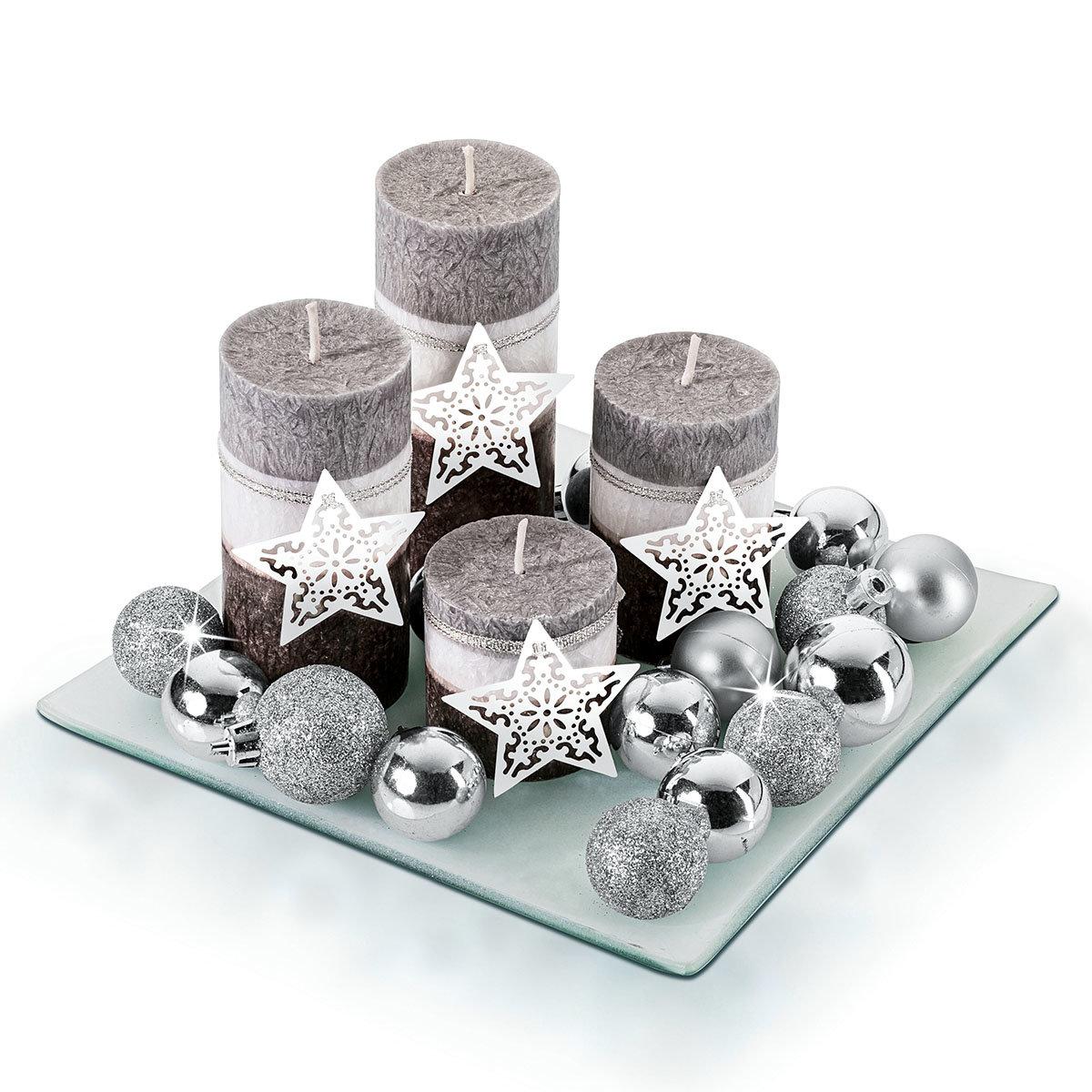 Kerzenset Silberglanz mit 4 Kerzen und Teller, 20x20 cm | #2