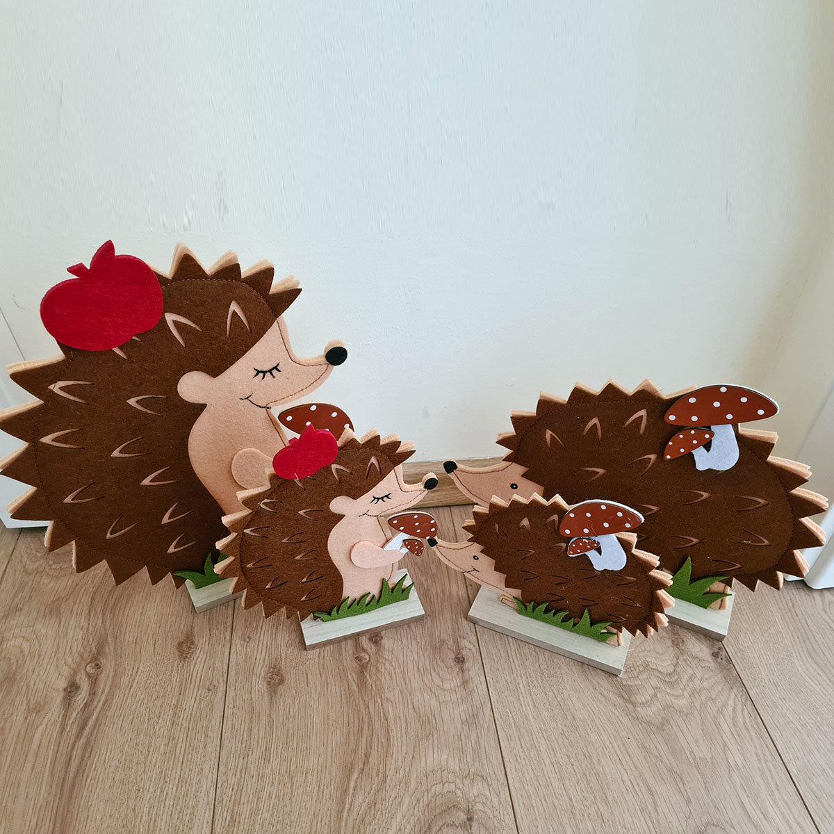 Igel mit Apfel und Pilz, 2er-Set, kriechend, Filz   #2