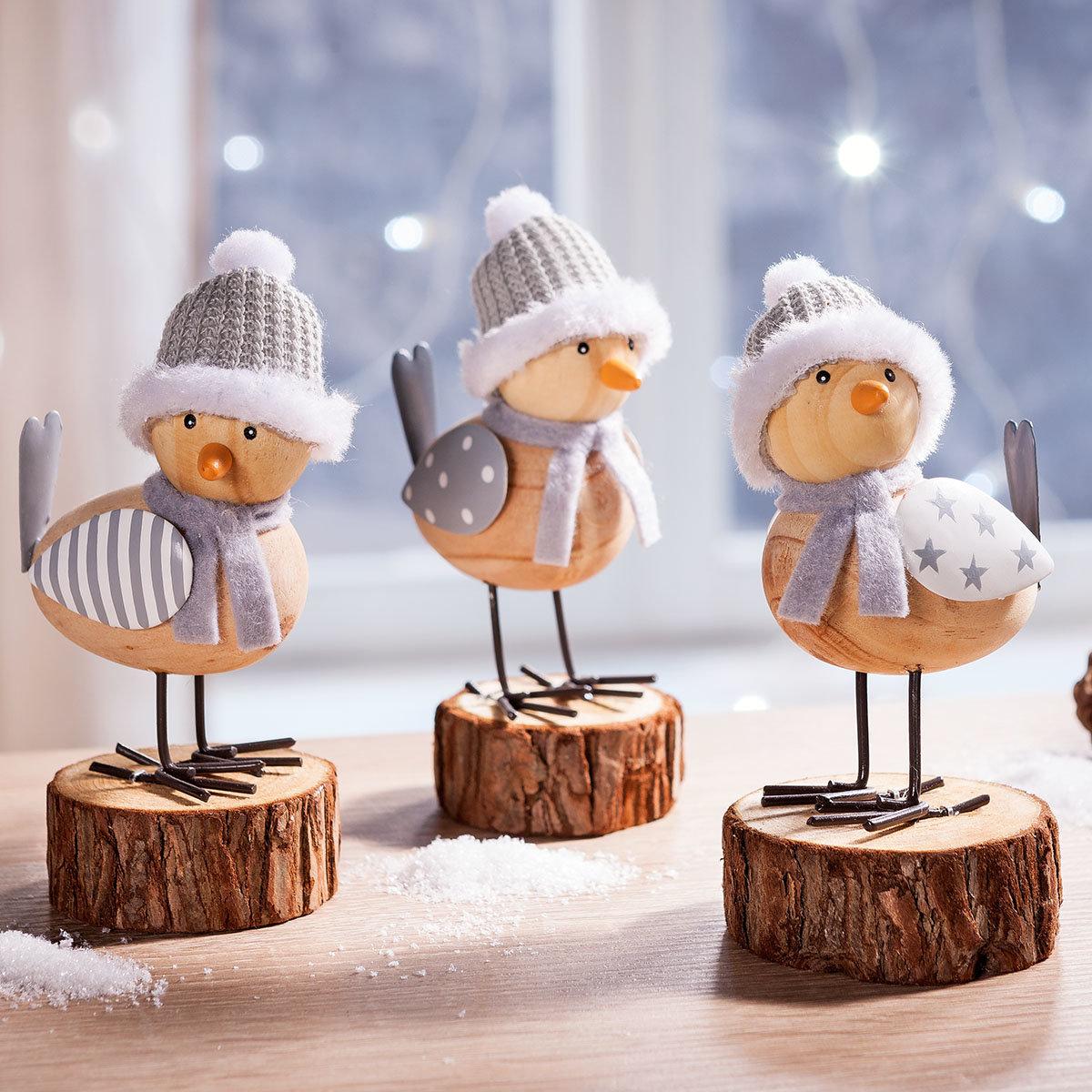 Dekofiguren Wintervögel, 3er-Set   #2