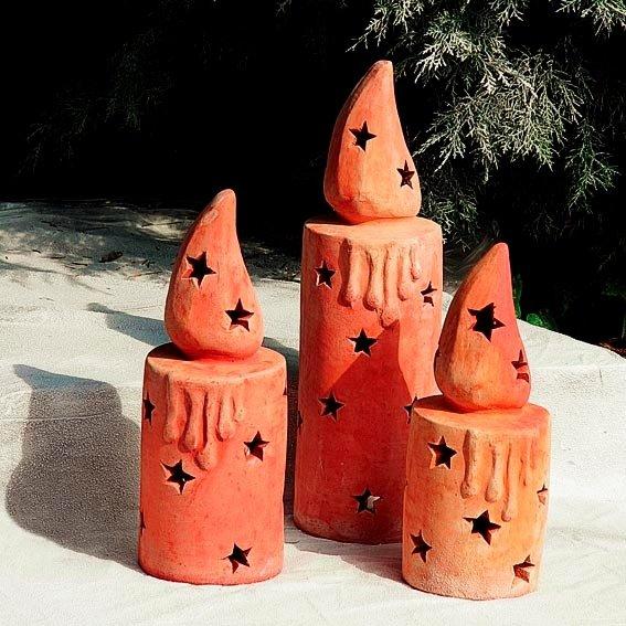 Terracotta-Kerze, klein | #2