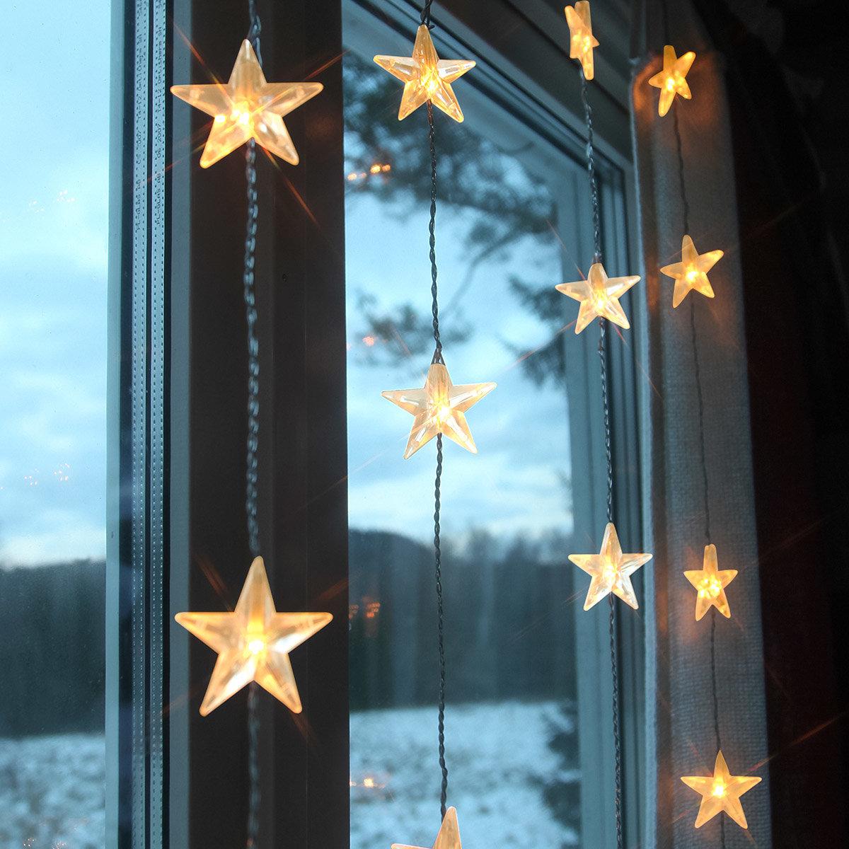 Led lichtervorhang himmelssterne 30 leds von g rtner for Lichtervorhang weihnachten