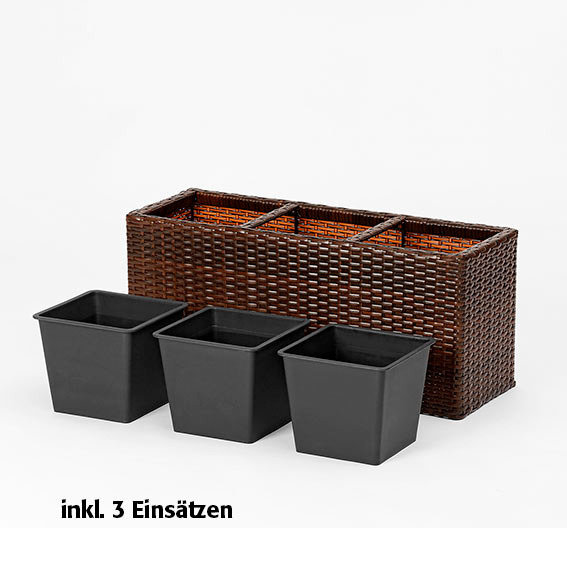 outdoor rattan pflanzkasten rechteckig inkl 3. Black Bedroom Furniture Sets. Home Design Ideas