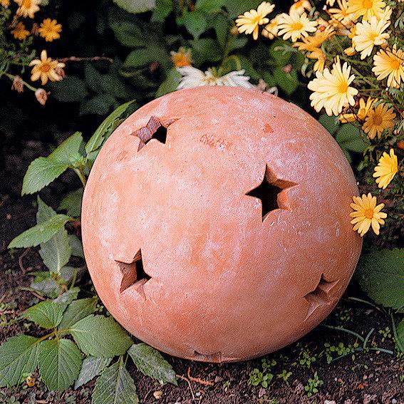 Terracotta-Dekokugel mit Sternen 17 cm | #2