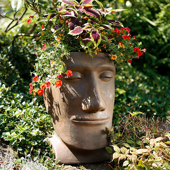 Terracotta-Pflanzgefäß Osterinselkopf | #2