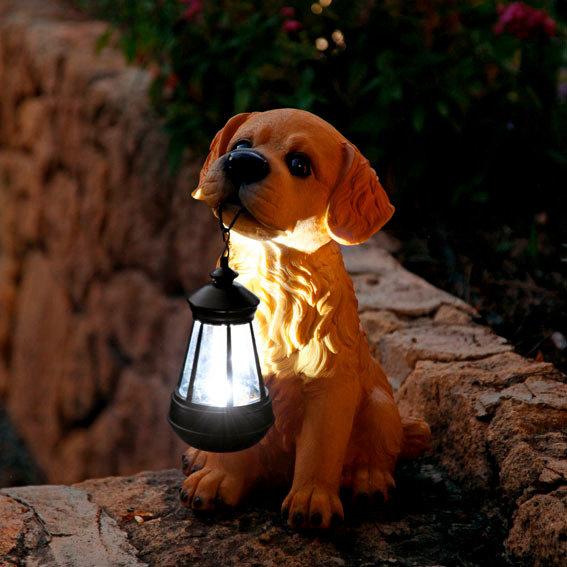 Gartenfigur Goldie-Baby mit Solar-Laterne | #2