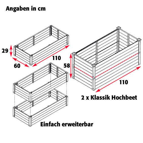 Hochbeet Klassik, 3er-Set - anthrazit | #2