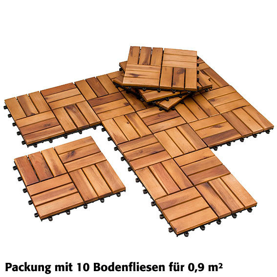 Holzfliesen Akazienholz, vorgeölt, 10 Stück, 0,9qm | #2
