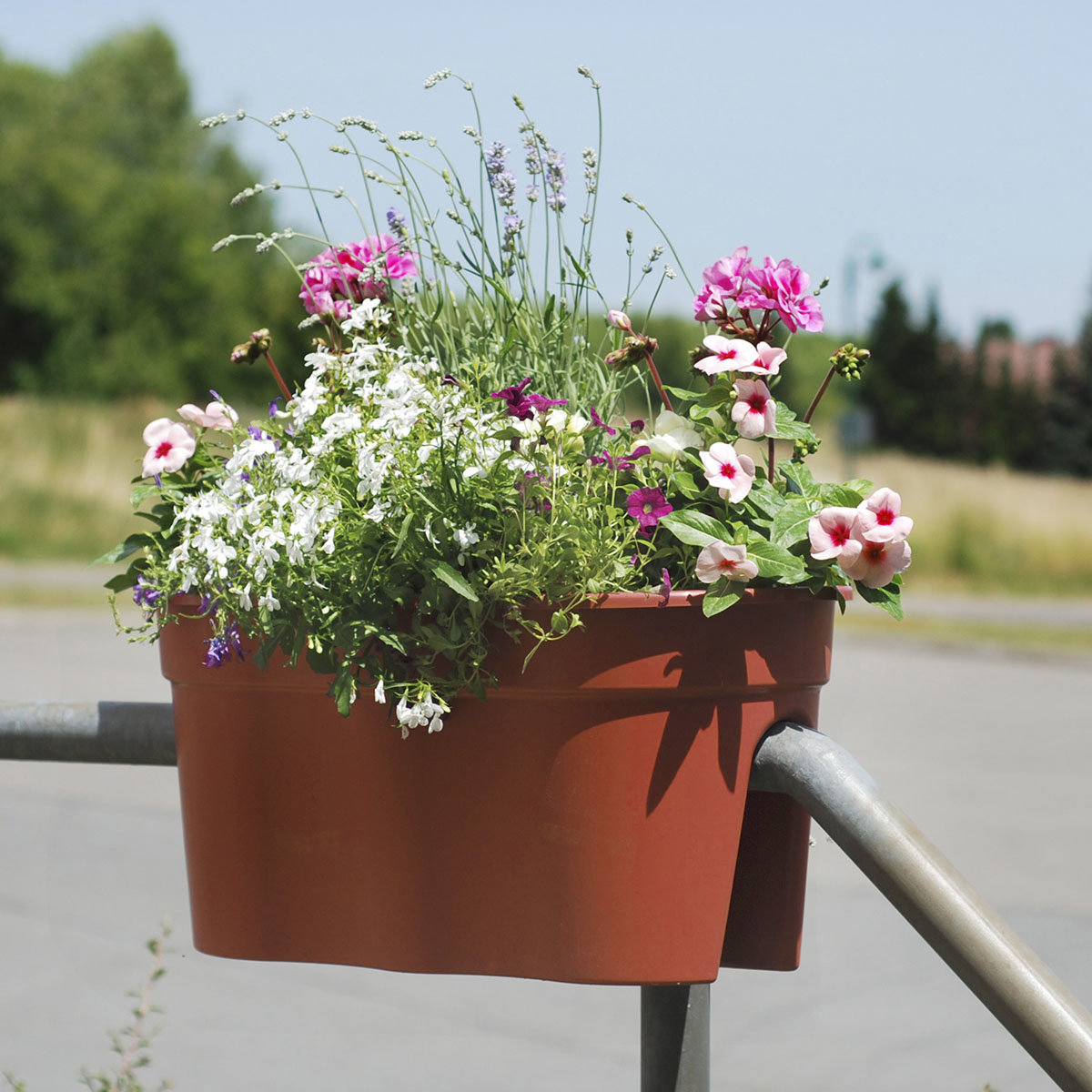 Geländertopf Flowerclip, 57,5 x 27,7 x 27 cm, terracotta | #3