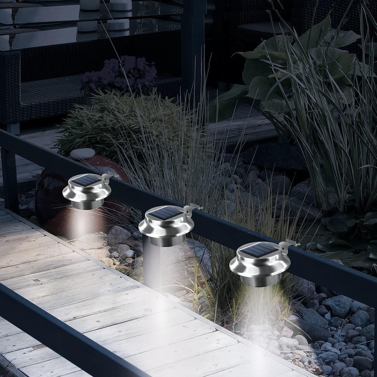 Solarzauber Dachrinnen-Leuchten, 3er-Set, Edelstahl | #3