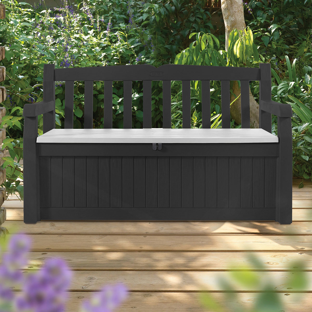 auflagenbox mit sitzfunktion 265 liter anthrazit online kaufen bei g rtner p tschke. Black Bedroom Furniture Sets. Home Design Ideas