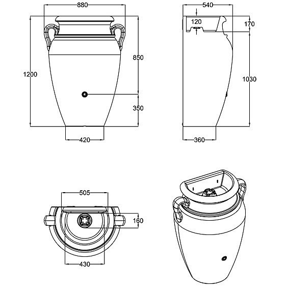 Regenwassertank Wand-Amphore 260 Liter, terracotta | #3