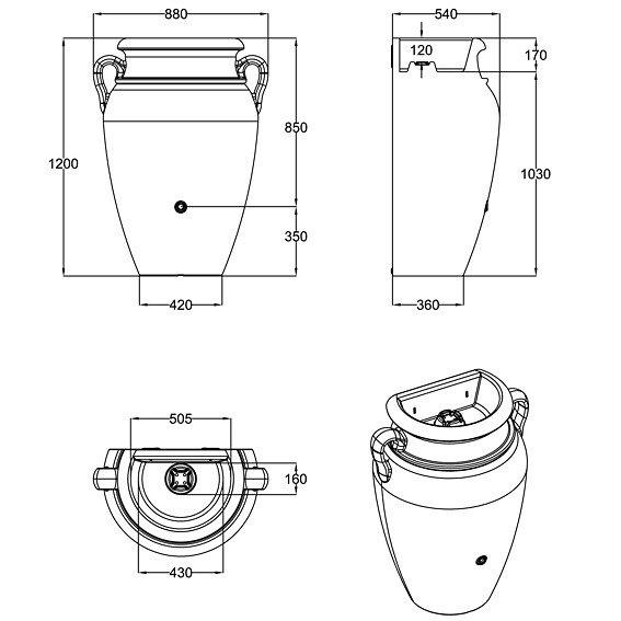 Regenwassertank Wand-Amphore 260 Liter, sandstein | #3