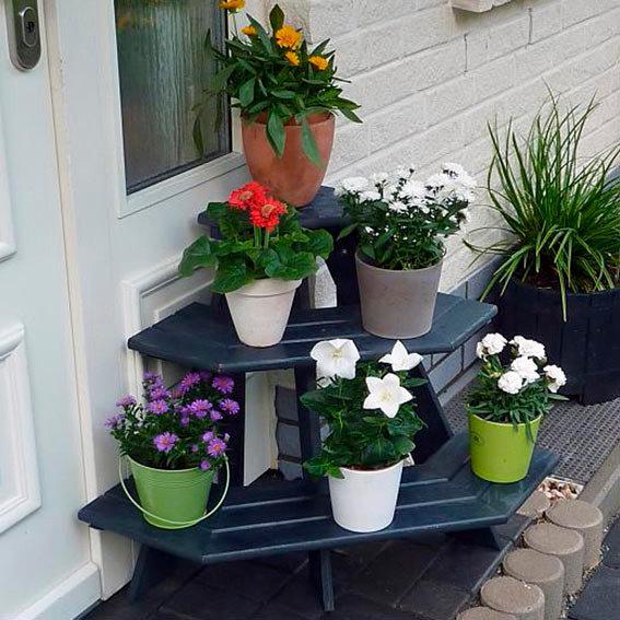 Blumentreppe Anja mit Eckelement, anthrazit | #3