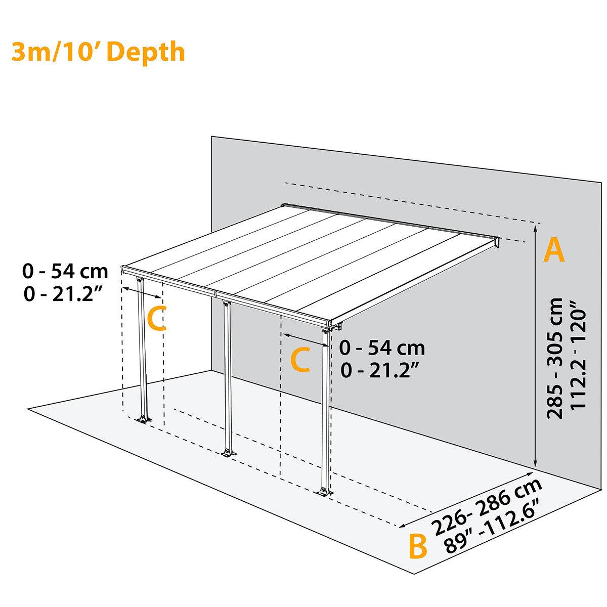 Terrassenüberdachung Feria, Aluminium pulverbeschichtet, ca. 425 x 295 x 305 cm | #3