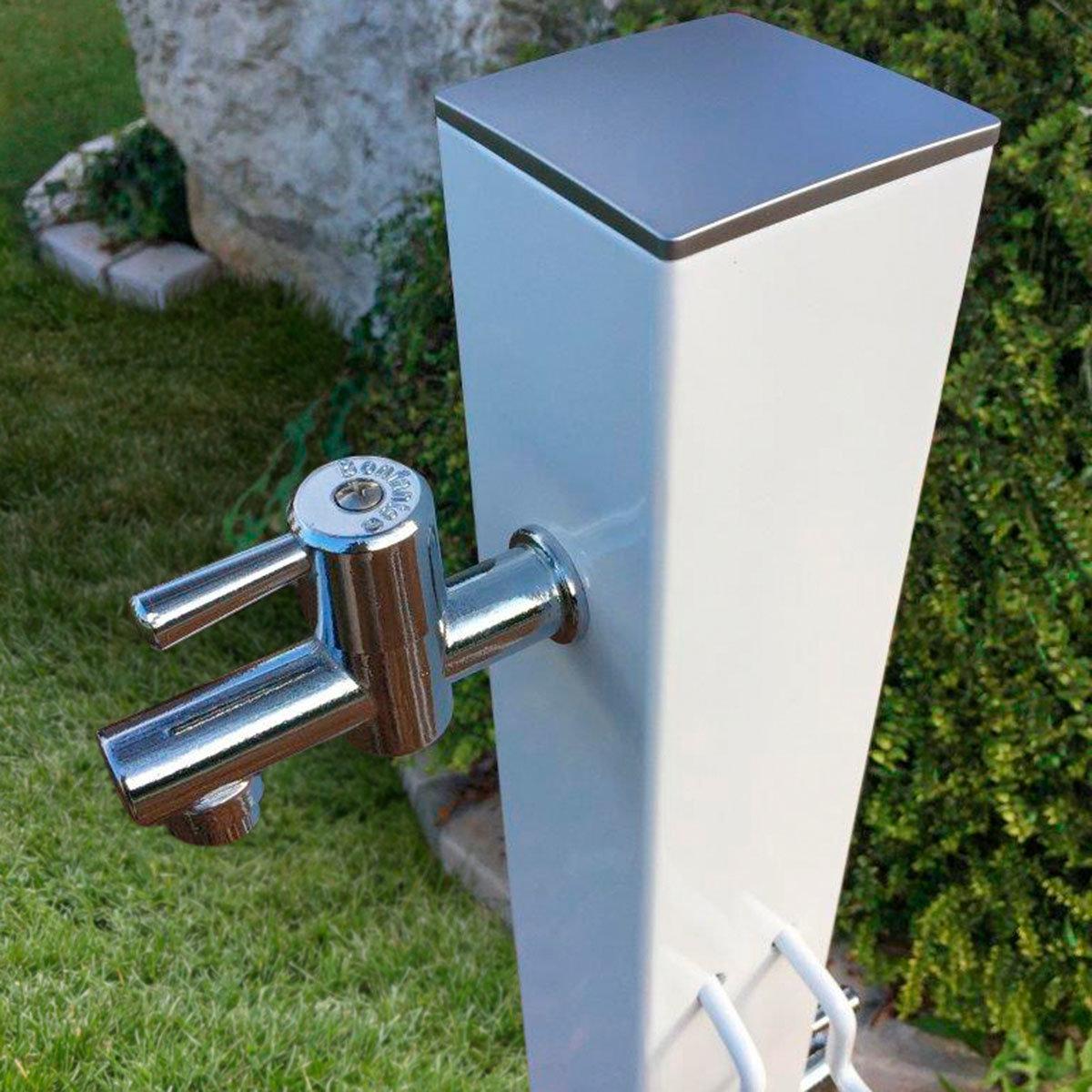 Wasserzapfsäule Quadra, 100x14x21 cm, Stahl, weiß | #3