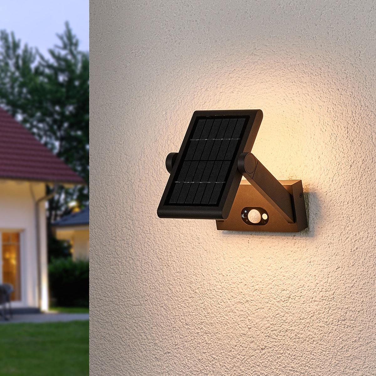 Solar-LED-Außenwandleuchte Valerian mit Bewegungsmelder, 16x23,3x15,2 cm, Aluminium, grau | #3