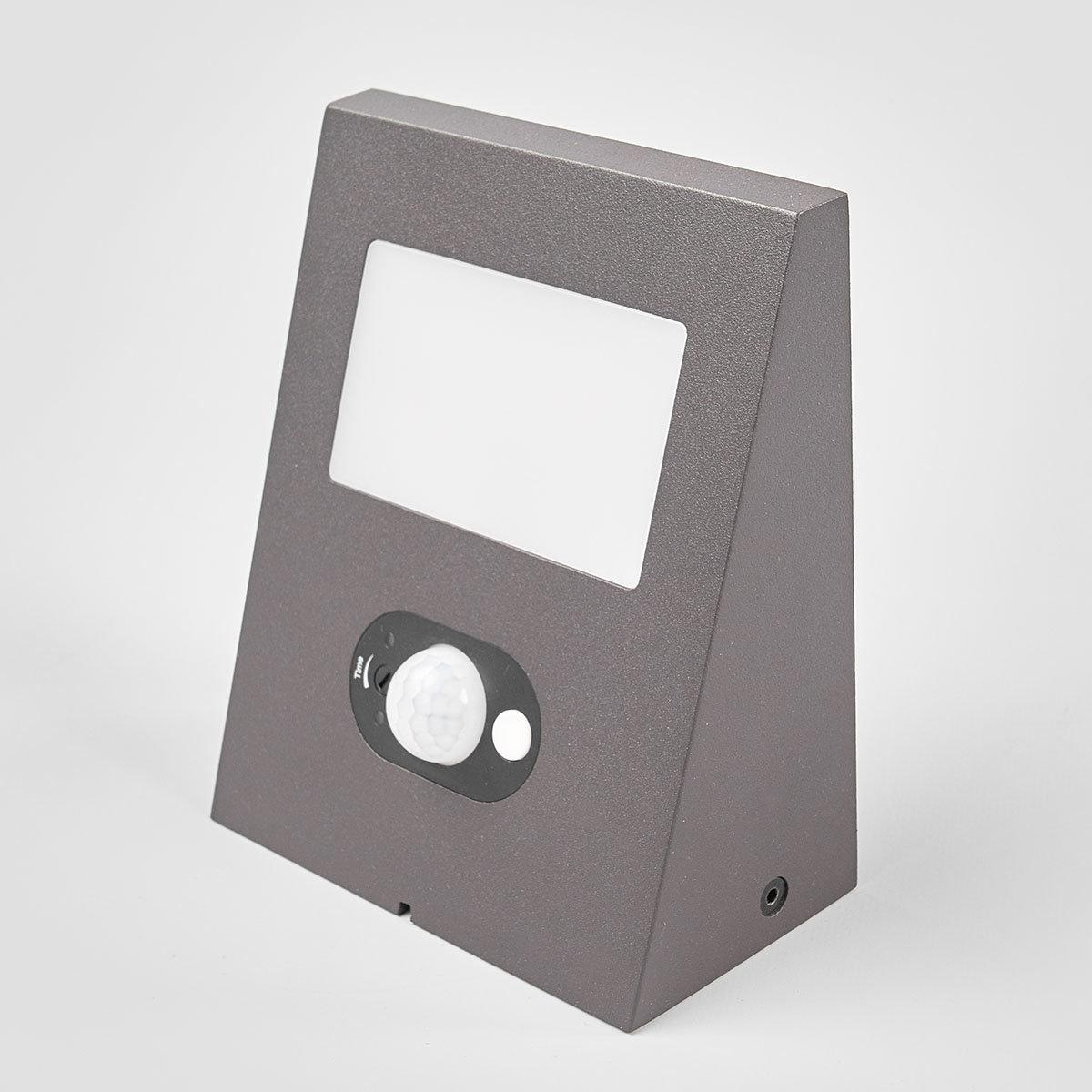 Solar-LED-Außenwandleuchte Felin mit Bewegungsmelder, 6,6x12,5x14,5 cm, Aluminium, grau | #3