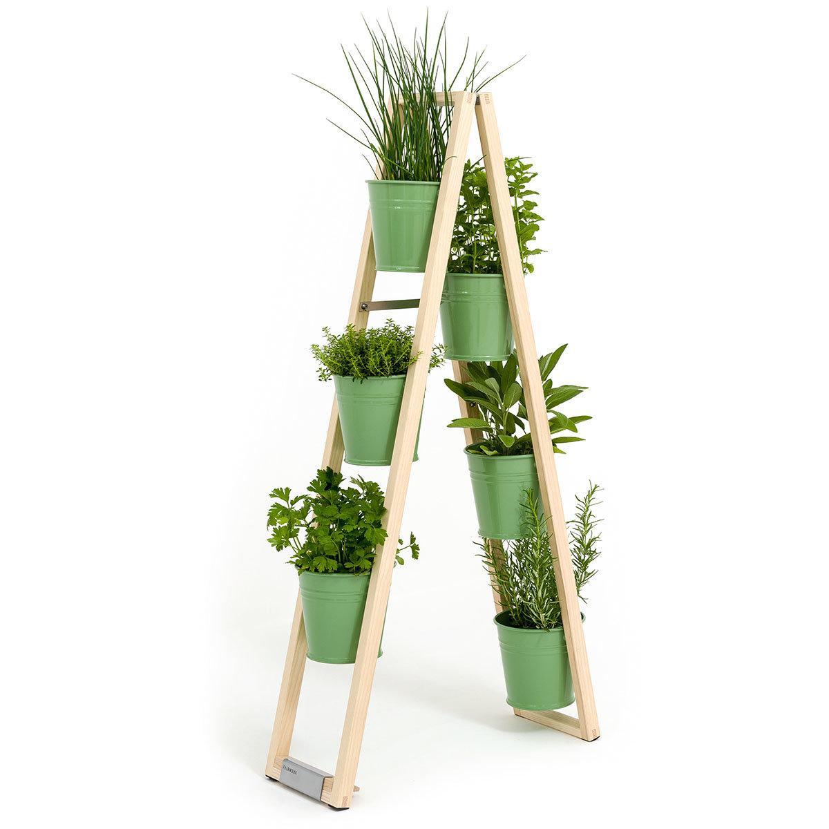 Pflanzleiter mit Topf 2-in-1 ,238x22x42 cm, Eschenholz, blassgrün | #3