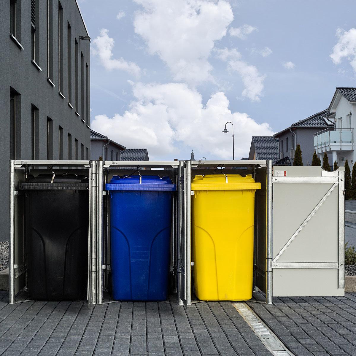 Mülltonnenbox 240l Kunststoff, 3er Box, grau | #3