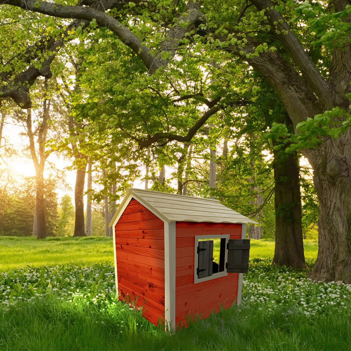 Kinder Spielhaus kleines Schloss, rot und weiß lasiert, ca. 138 x 118 x 132,5 cm | #3