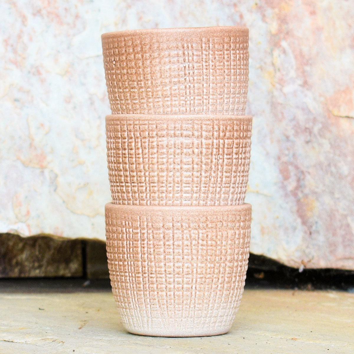 3er-Set Keramik-Übertöpfe 6cm, Braun | #3