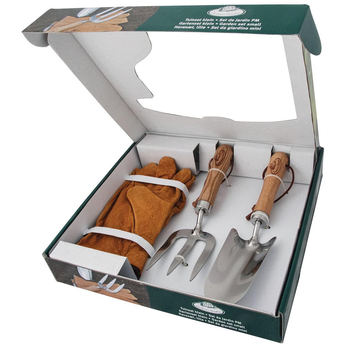 Gartenwerkzeug-Set, Hobbygärtner, Eschenholzstiel, Edelstahl, mit Lederhandschuhen | #3