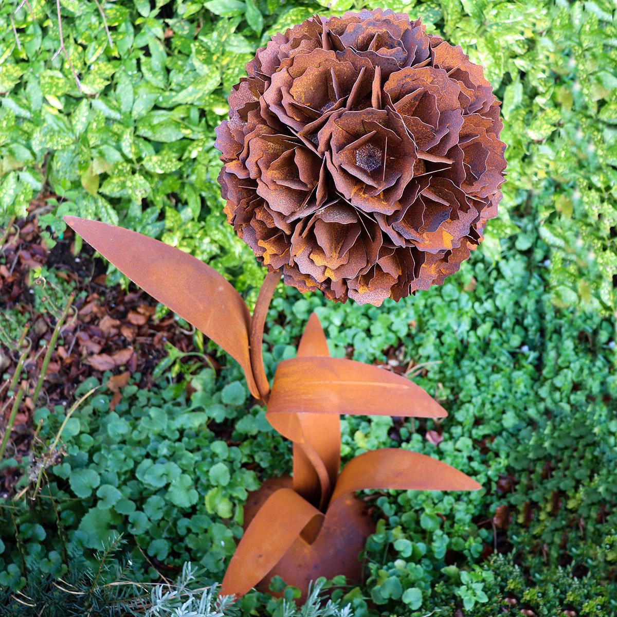Gartenfigur Pusteblume mit Bodenplatte, Edelrost, 130 cm | #3