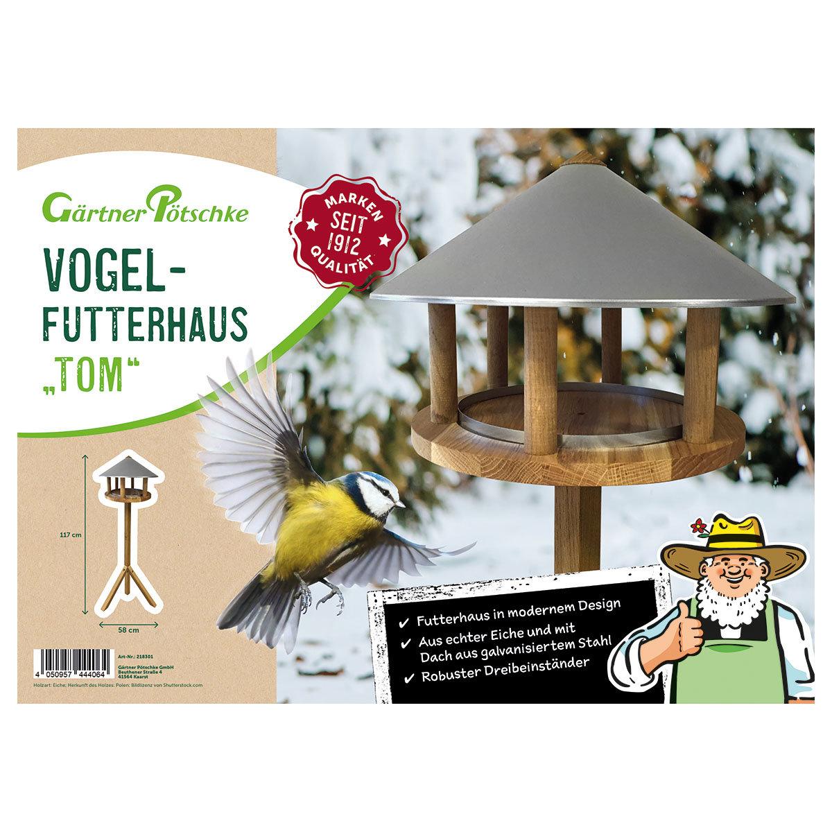 Vogelfutterhaus Tom, Eiche & Stahldach   #3