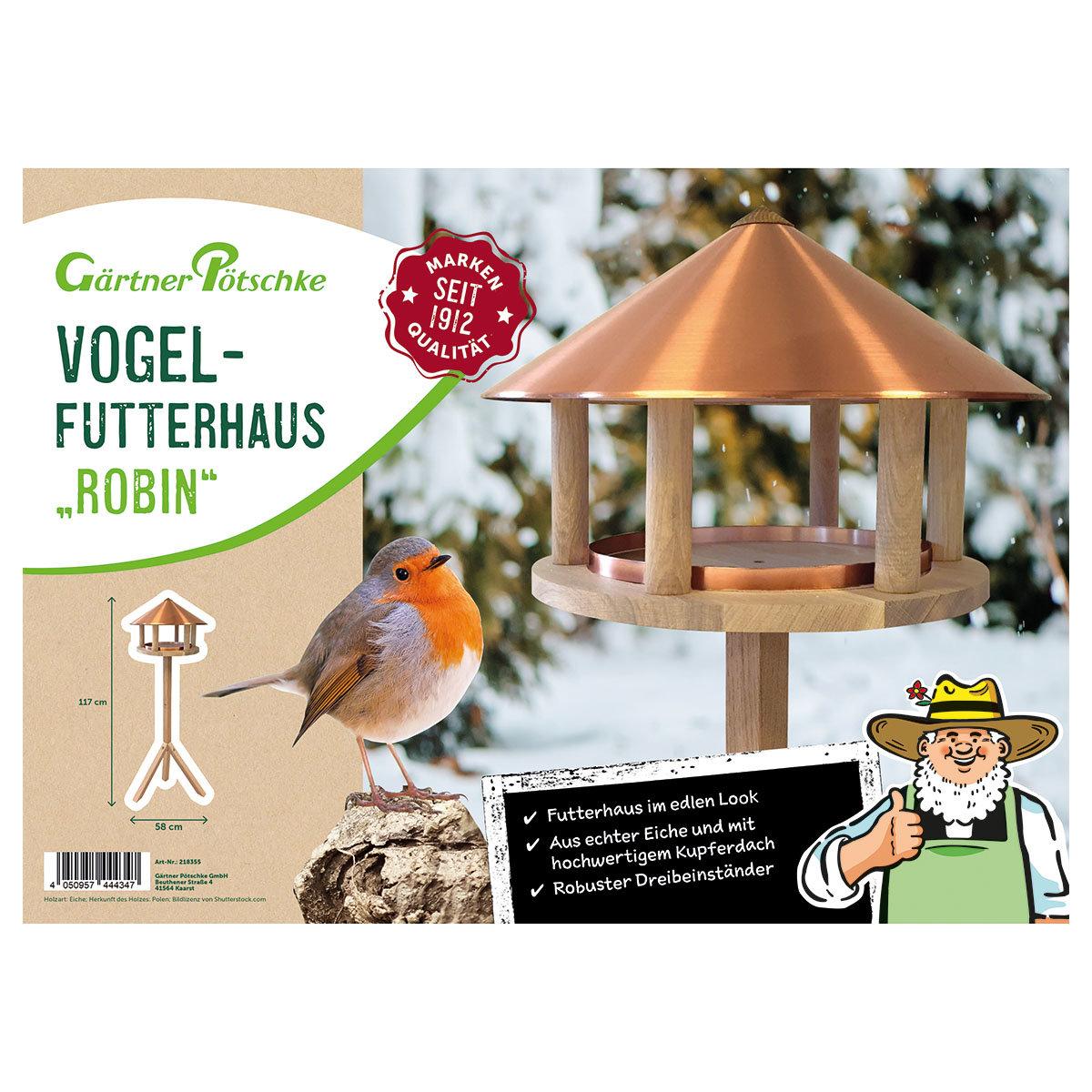 Vogelfutterhaus Robin, Eiche & Kupferdach   #3