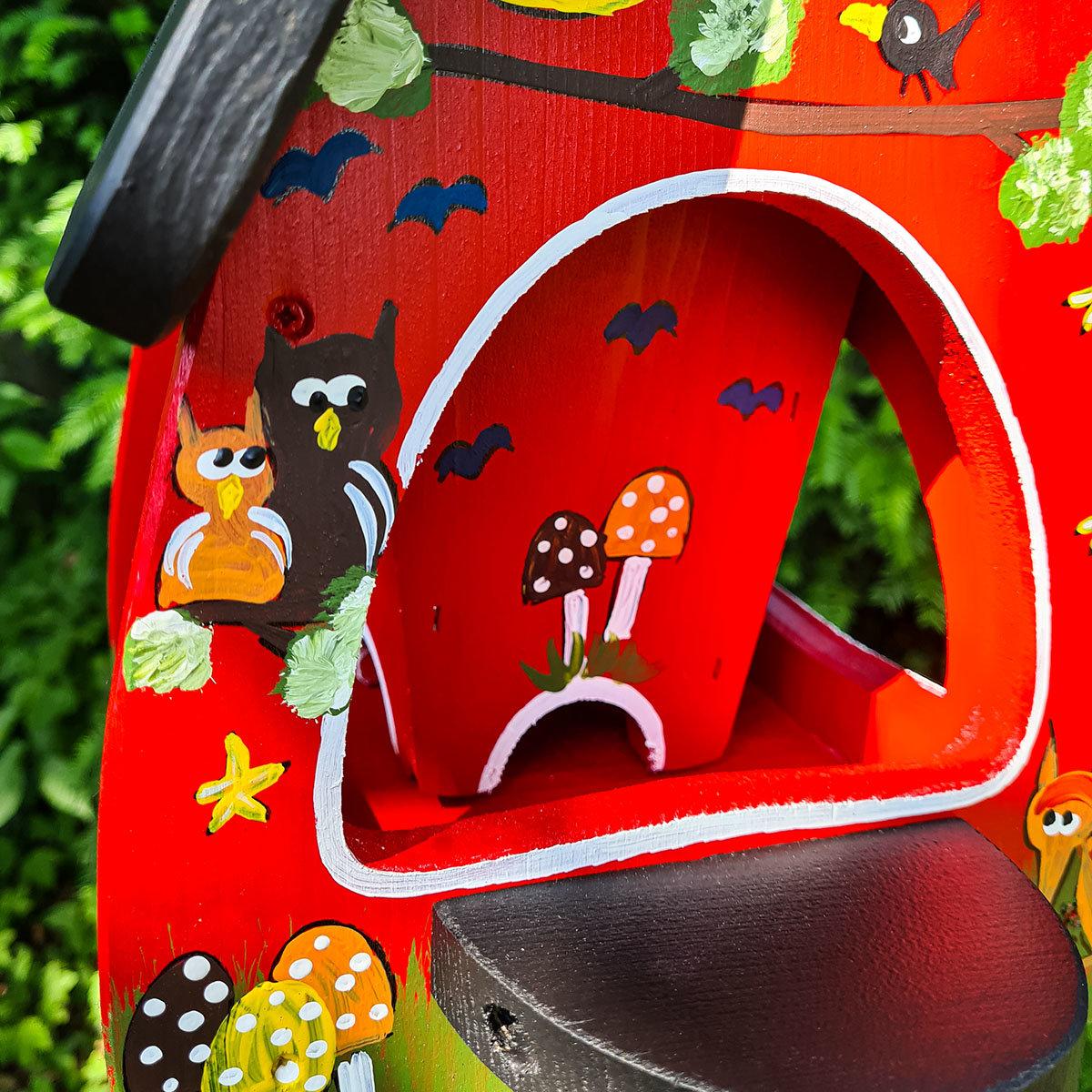 Vogelhaus mit Silo Tiere des Waldes, rot | #3