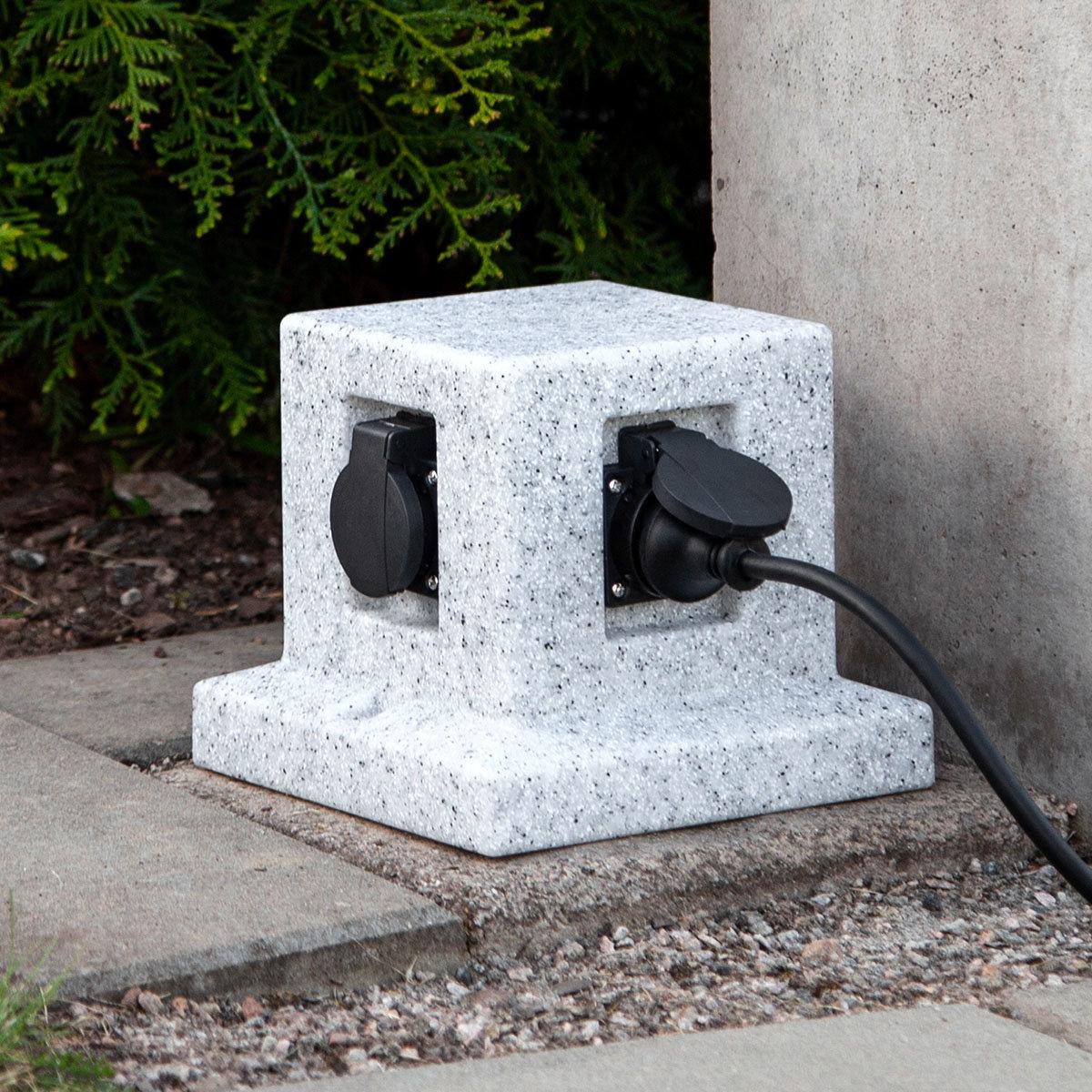 Gartensteckdose Granitoptik mit 4 Steckdosen | #3