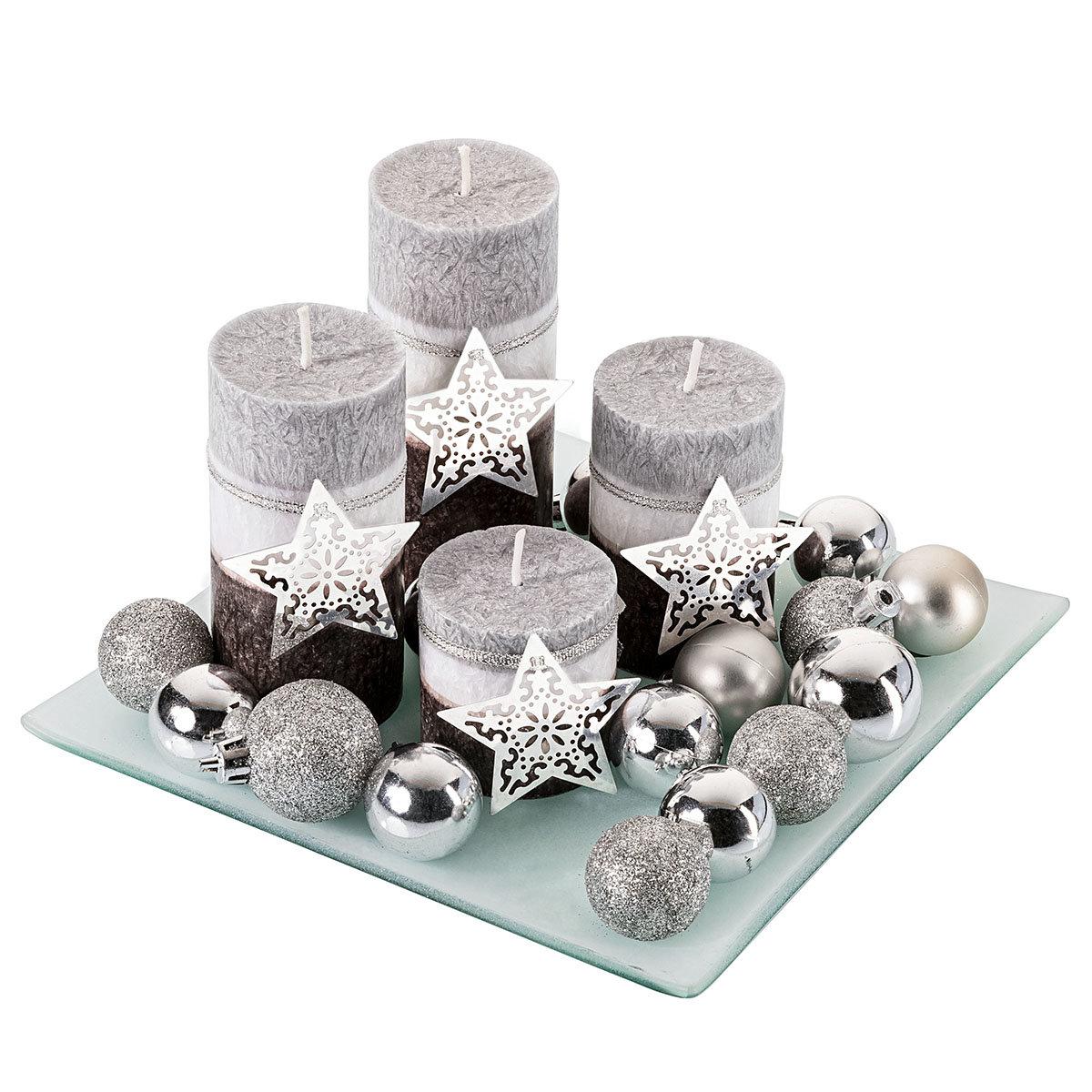 Kerzenset Silberglanz mit 4 Kerzen und Teller, 20x20 cm | #3