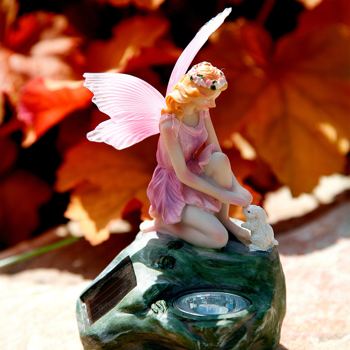 Gartenfiguren Elfen, 3er-Set mit Solar-LED-Lampen | #3