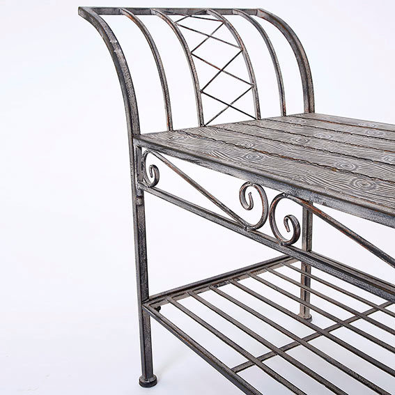 Sitzbank Woodwork Charme aus Eisen in Holzoptik | #3