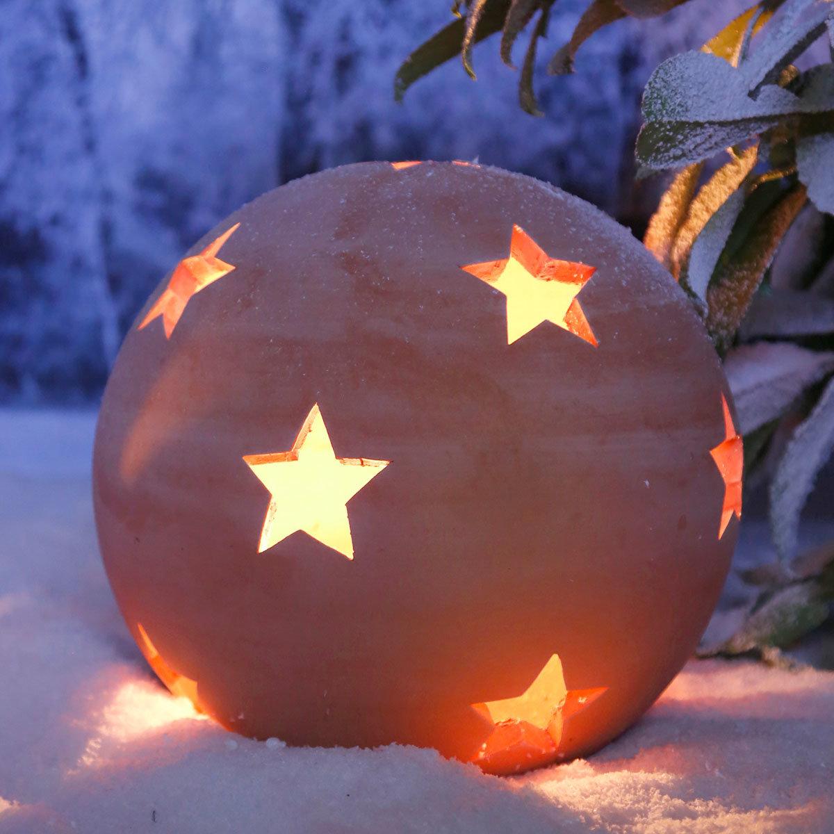 Terracotta-Dekokugel mit Sternen 30 cm | #3