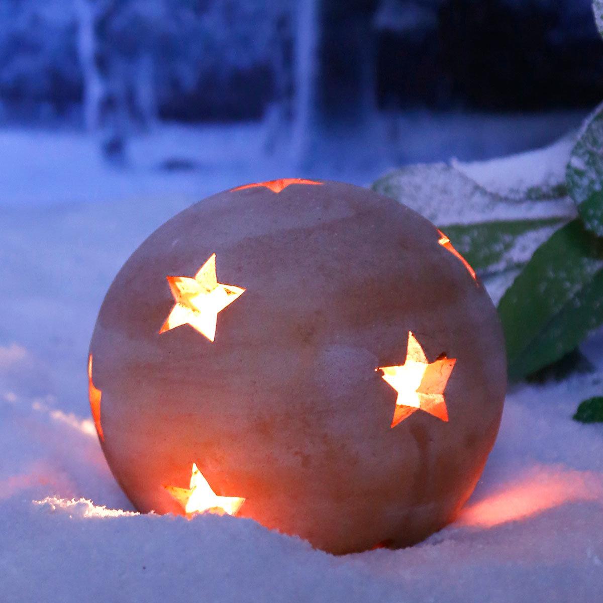 Terracotta-Dekokugel mit Sternen 17 cm | #3