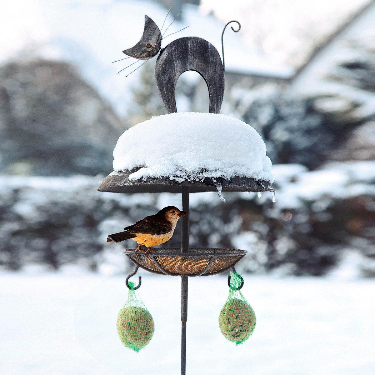 Vogelfutterstelle el felino von g rtner p tschke for Gartentiere deko