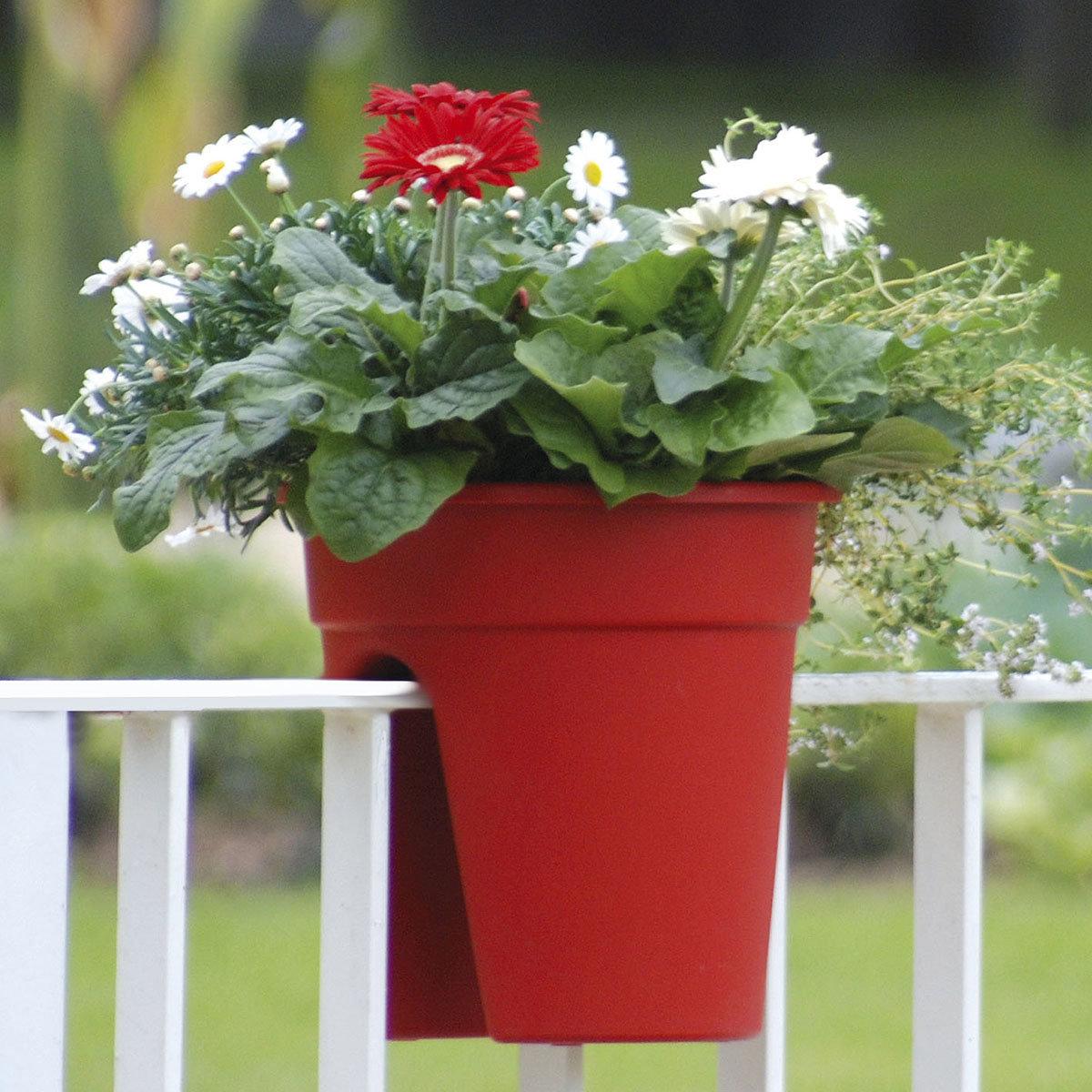 Geländertopf Flowerclip, 27 cm, rot | #4