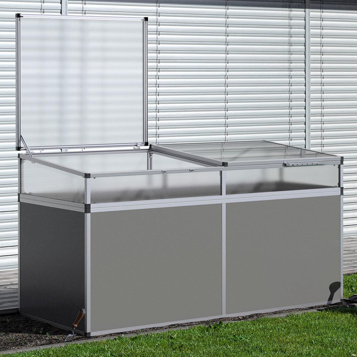 Kgt Aluminium Hochbeet 210 Anthrazit Silber Mit Fruhbeetaufsatz