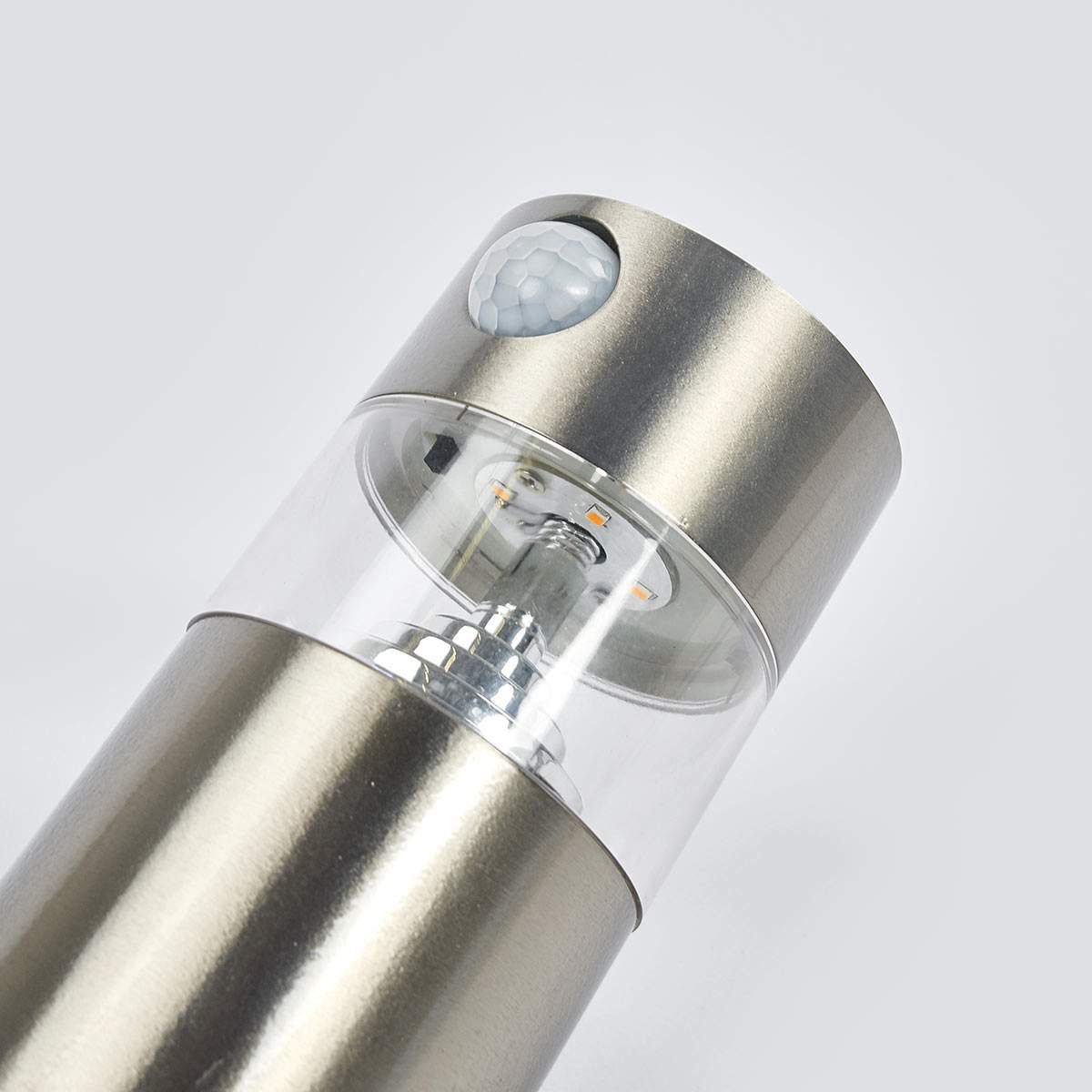 Solar-LED-Wandlampe Kalypso mit Bewegungsmelder, 21,3x7,6x7,6 cm, Edelstahl, silber | #4