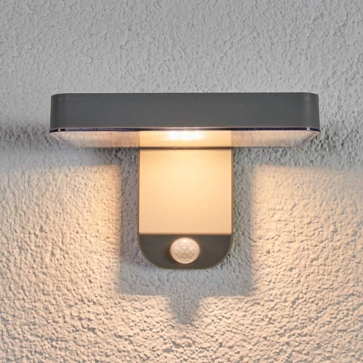Solar-Außenwandlampe Maik mit Bewegungsmelder, 12x18x12,7 cm, Kunststoff, grau | #4