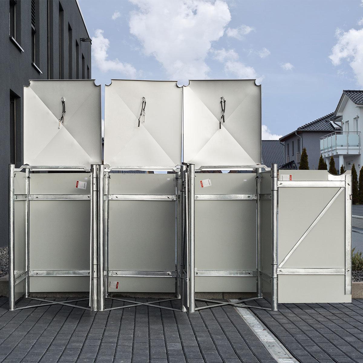 Mülltonnenbox 240l Kunststoff, 3er Box, grau | #4