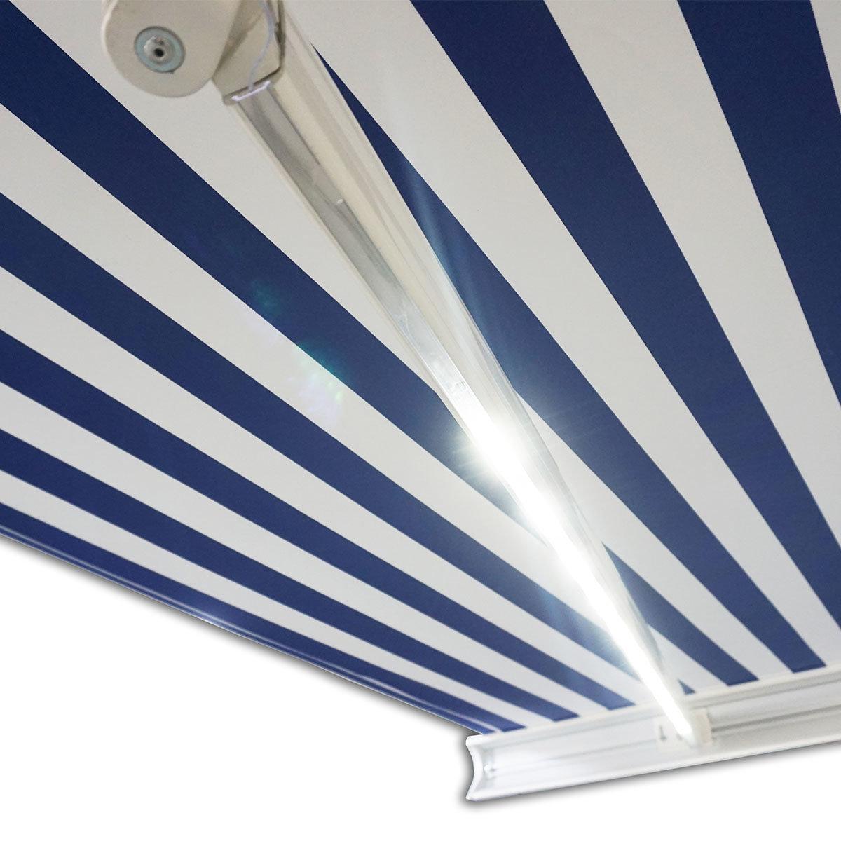 Vollelektrische Kassettenmarkise Elos V2 marineblau-weiß 500 x 300 cm mit Windsensor | #4