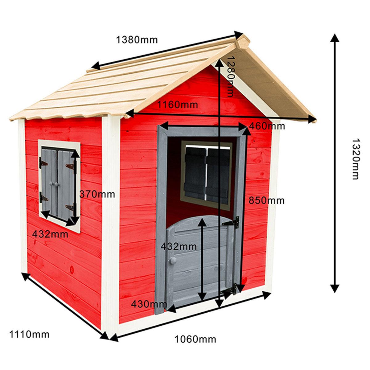 Kinder Spielhaus kleines Schloss, rot und weiß lasiert, ca. 138 x 118 x 132,5 cm | #4