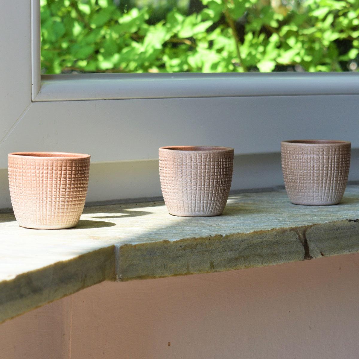 3er-Set Keramik-Übertöpfe 6cm, Braun | #4