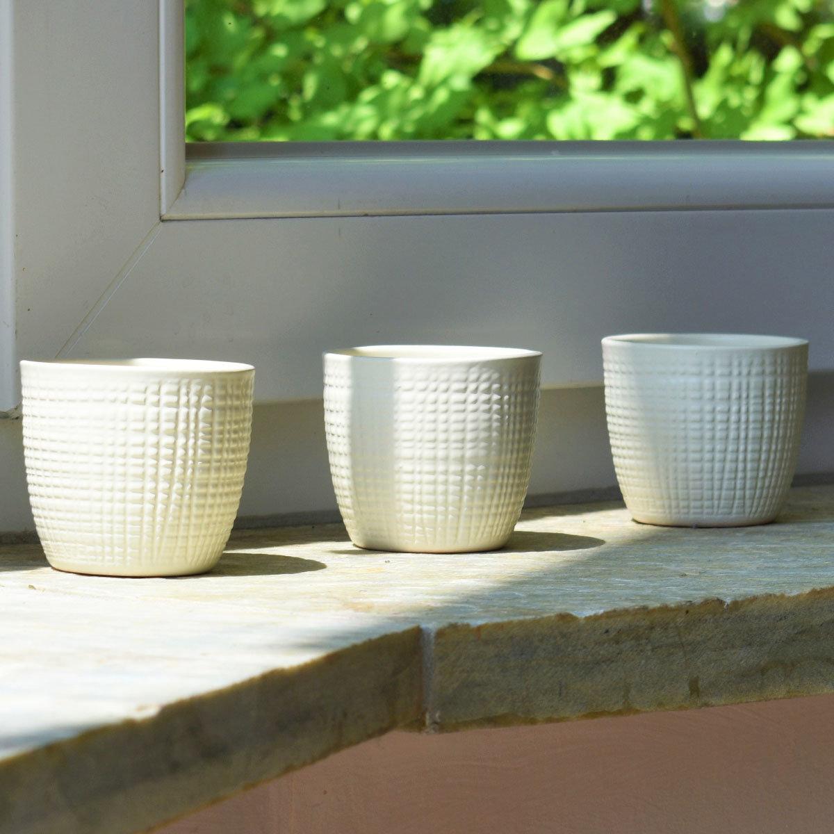 3er-Set Keramik-Übertöpfe 6cm, Vanille   #4