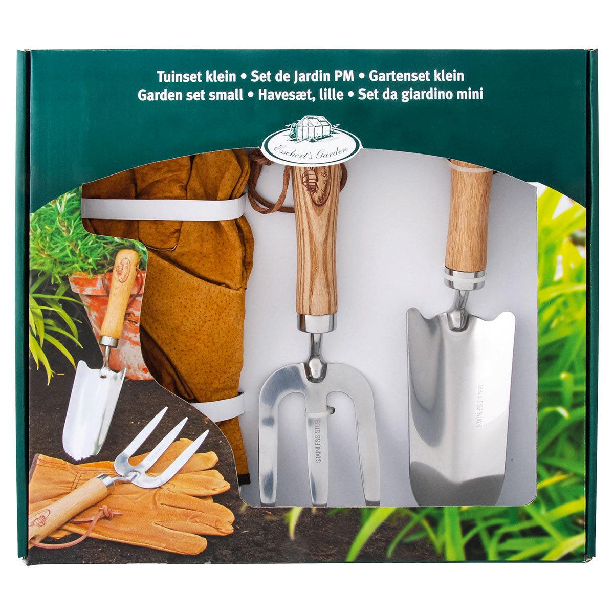 Gartenwerkzeug-Set, Hobbygärtner, Eschenholzstiel, Edelstahl, mit Lederhandschuhen | #4