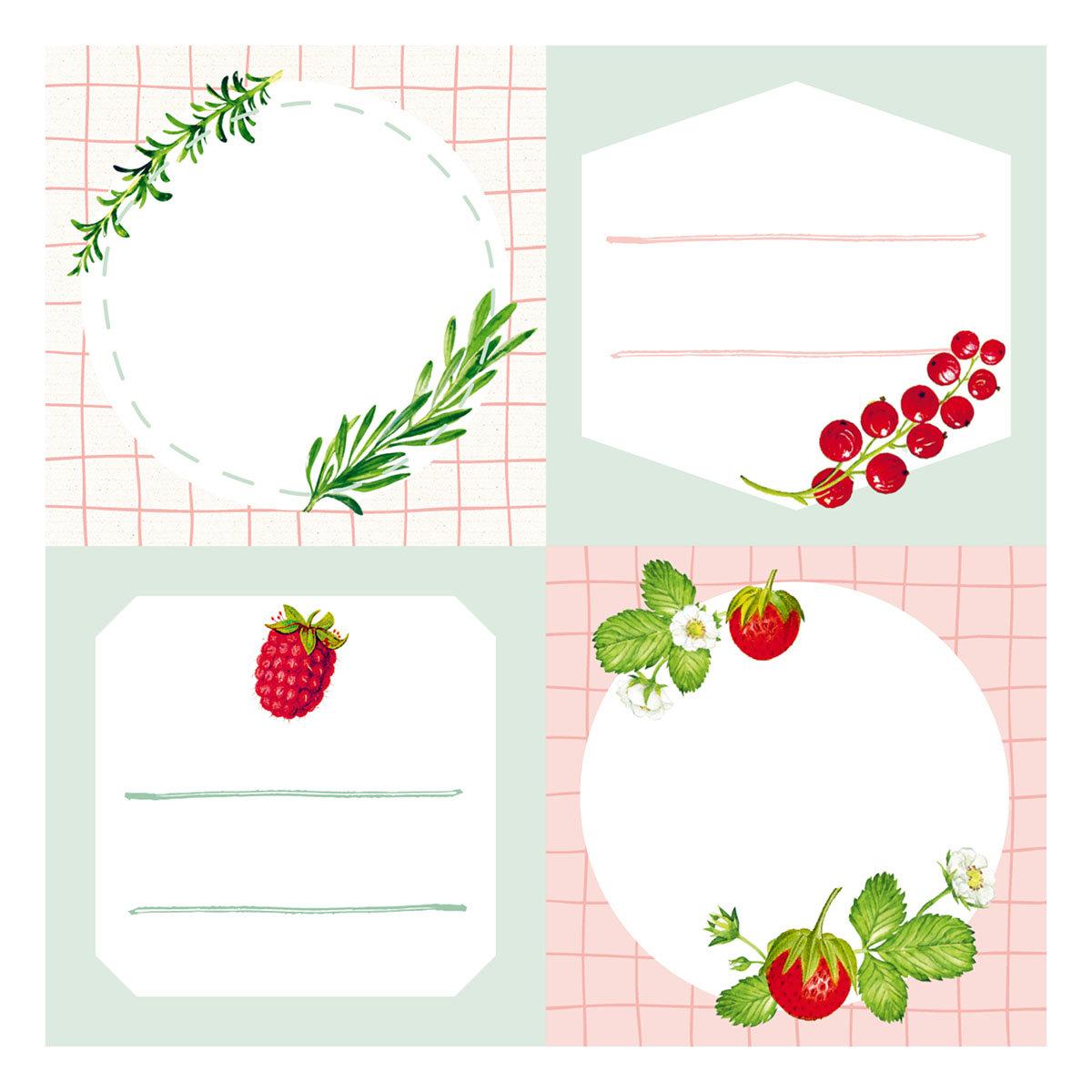 Küchen-Etiketten für Gläser und Flaschen, Rote Beeren | #4
