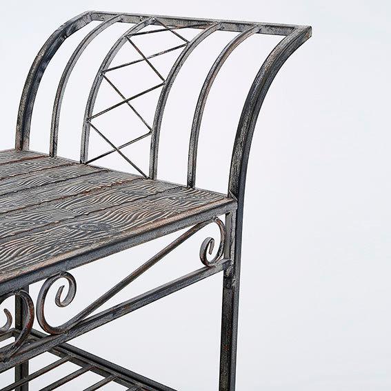 Sitzbank Woodwork Charme aus Eisen in Holzoptik | #4