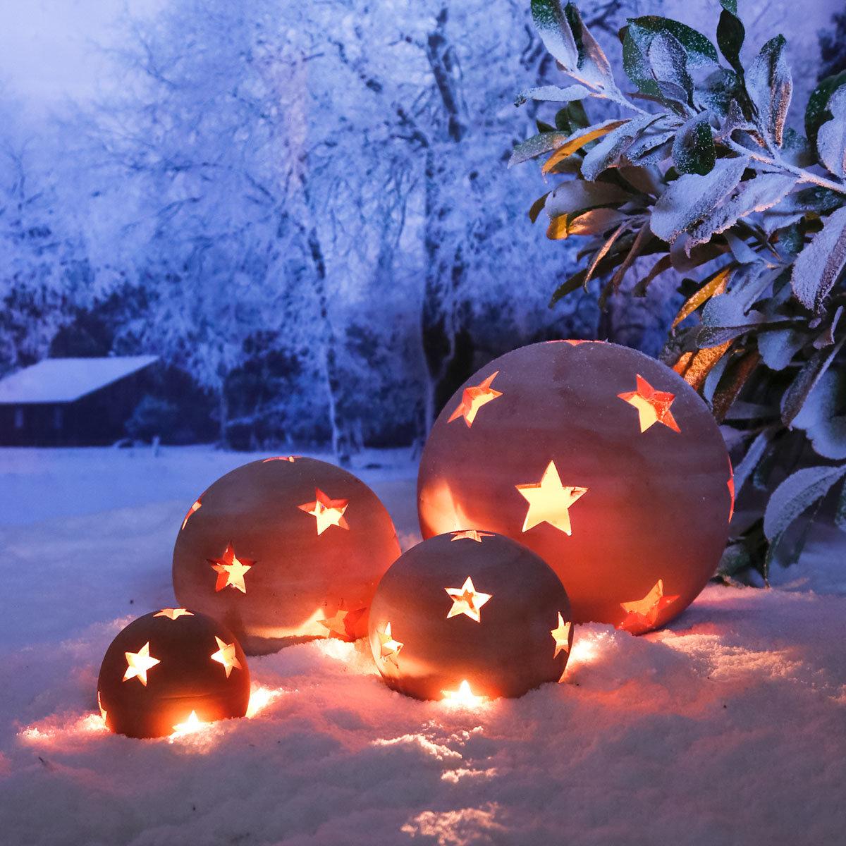 Terracotta-Dekokugel mit Sternen 17 cm | #4